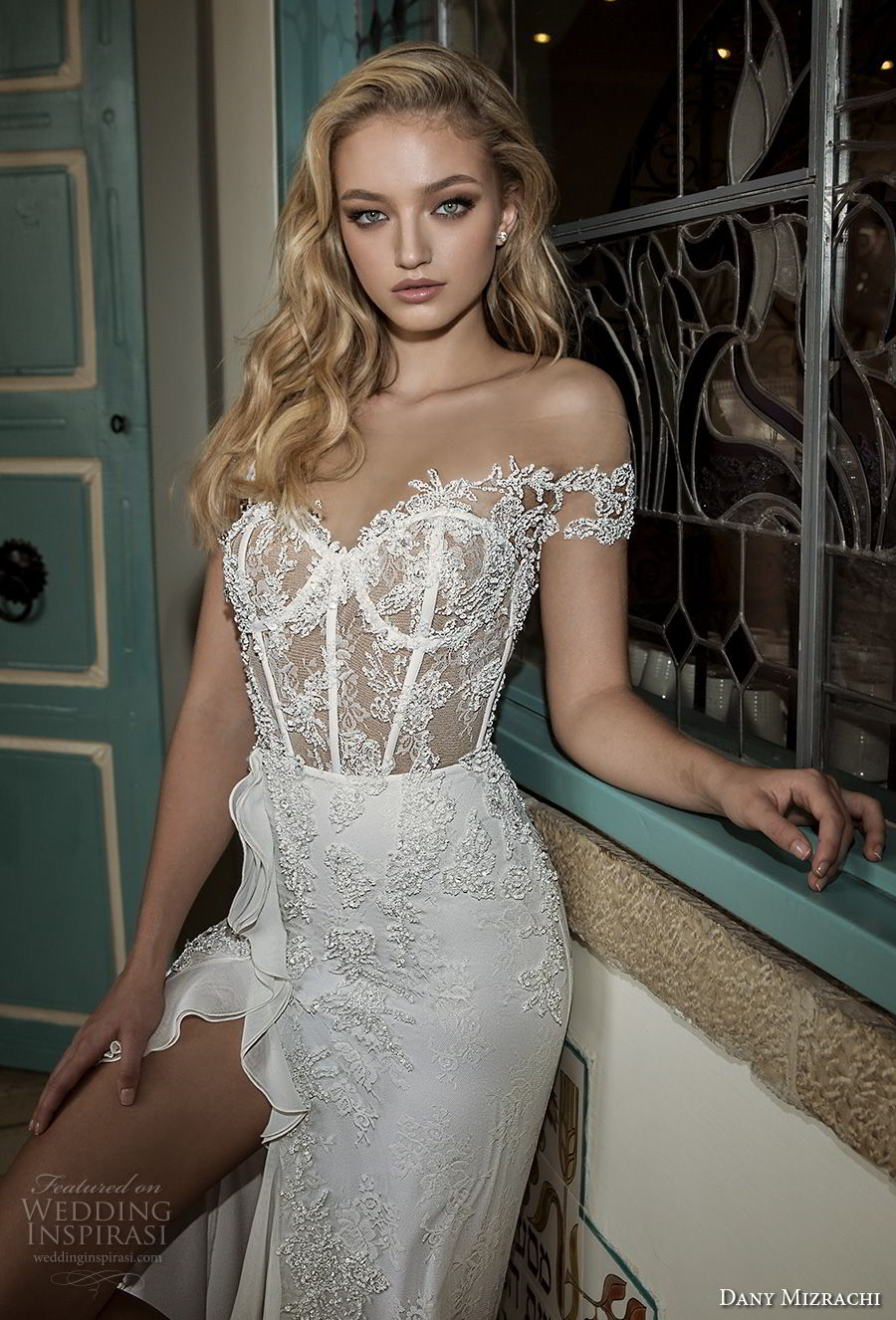 dany mizrachi spring 2018 bridal off the shoulder sweetheart neckline heavily embellished bodice busiter high slit skirt soft a  line wedding dress open back sweep train (3) zv