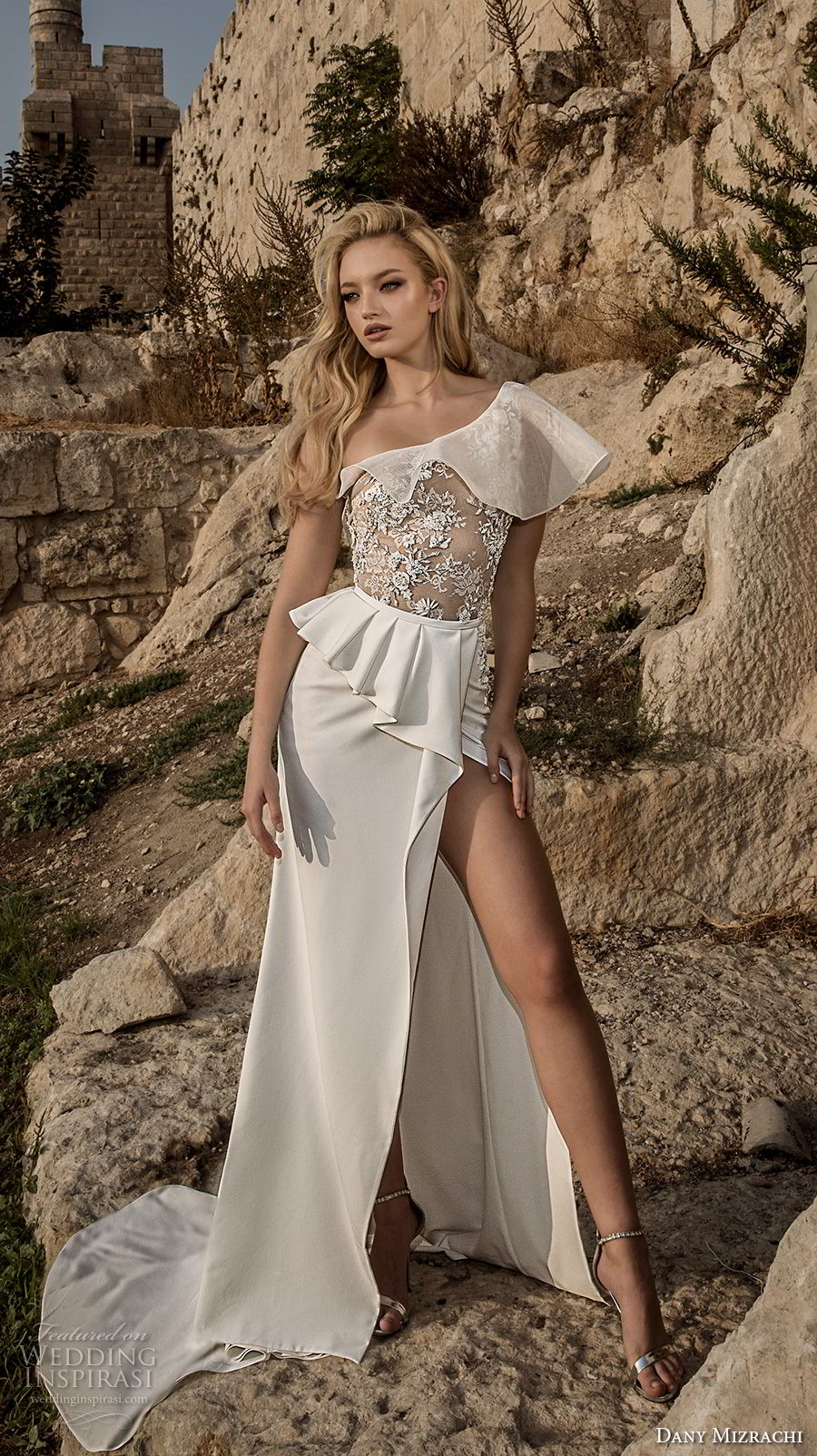 dany mizrachi spring 2018 bridal one shoulder heavily embellished bodice high slit skirt sexy sophiscated a  line wedding dress chapel train (33) mv