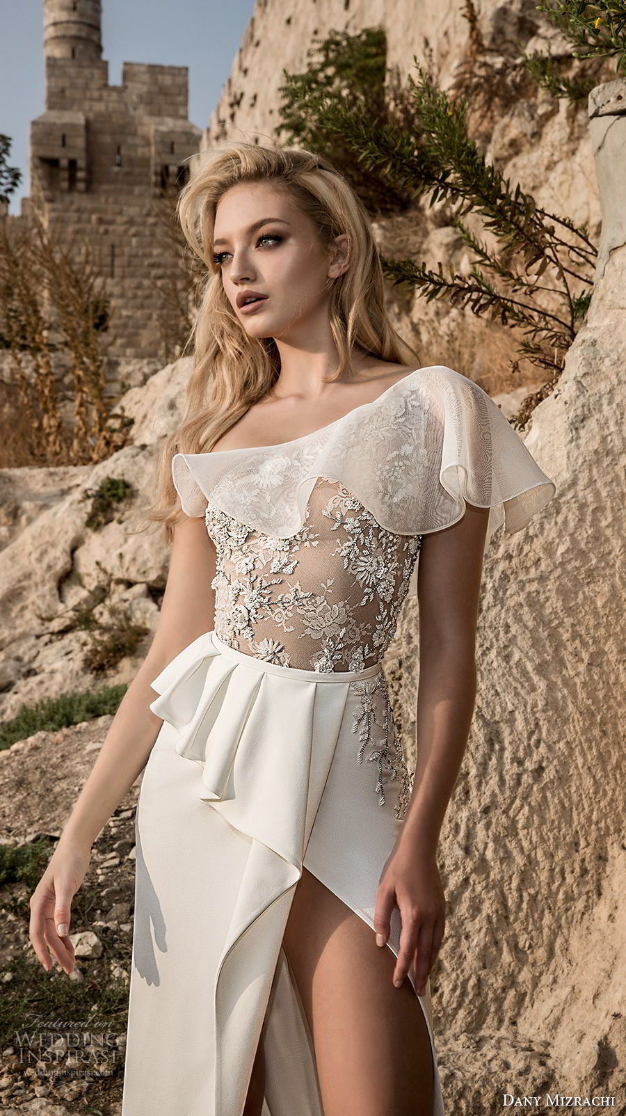 dany mizrachi spring 2018 bridal one shoulder heavily embellished bodice high slit skirt sexy sophiscated a  line wedding dress chapel train (33) zv