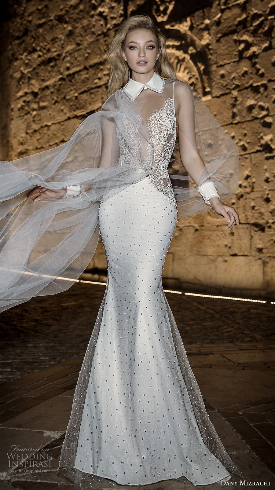 dany mizrachi spring 2018 bridal sleeveless collar neck heavily embellished bodice elegant sophiscated mermaid wedding dress open v back sweep train (34) mv
