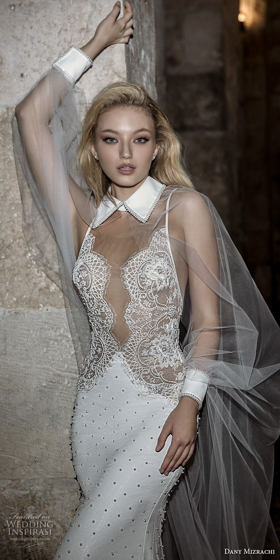 dany mizrachi spring 2018 bridal sleeveless collar neck heavily embellished bodice elegant sophiscated mermaid wedding dress open v back sweep train (34) zv