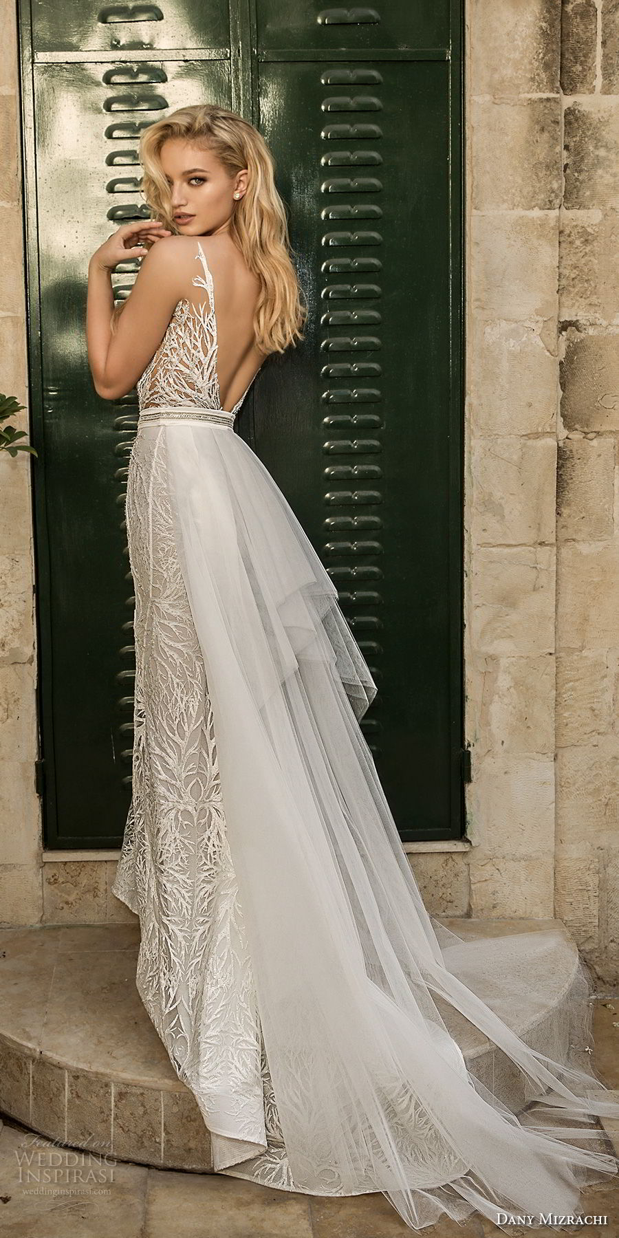 dany mizrachi spring 2018 bridal sleeveless deep plunging v neck full embellishment elegant glamorous fit and flare wedding dress open v back sweep train (23) bv