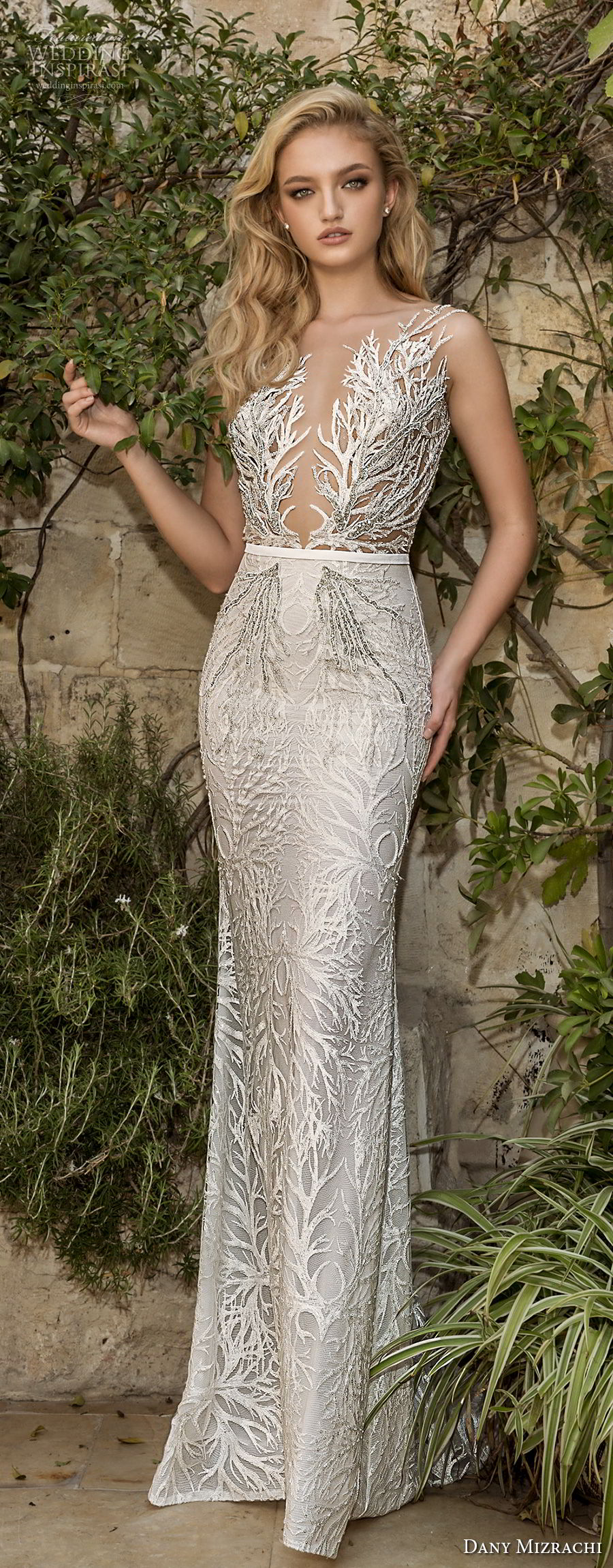 dany mizrachi spring 2018 bridal sleeveless deep plunging v neck full embellishment elegant glamorous fit and flare wedding dress open v back sweep train (23) lv mv