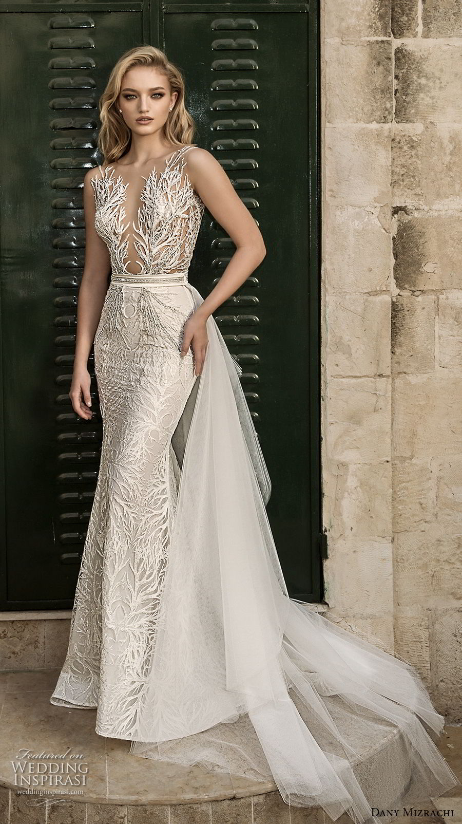 dany mizrachi spring 2018 bridal sleeveless deep plunging v neck full embellishment elegant glamorous fit and flare wedding dress open v back sweep train (23) mv