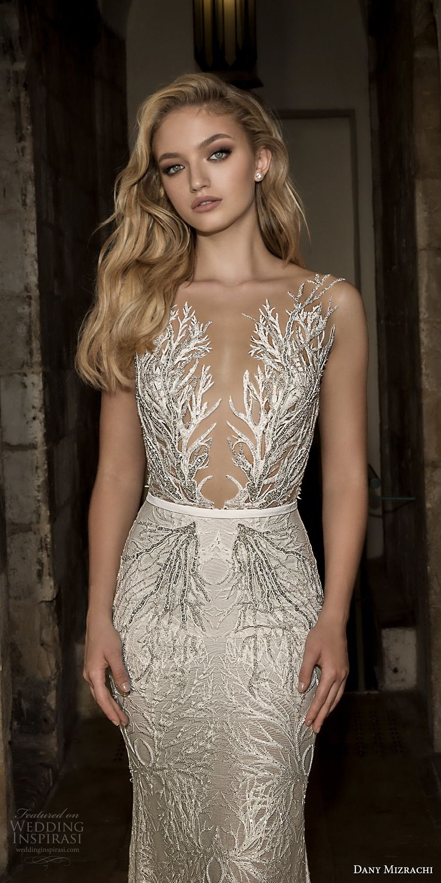 dany mizrachi spring 2018 bridal sleeveless deep plunging v neck full embellishment elegant glamorous fit and flare wedding dress open v back sweep train (23) zv