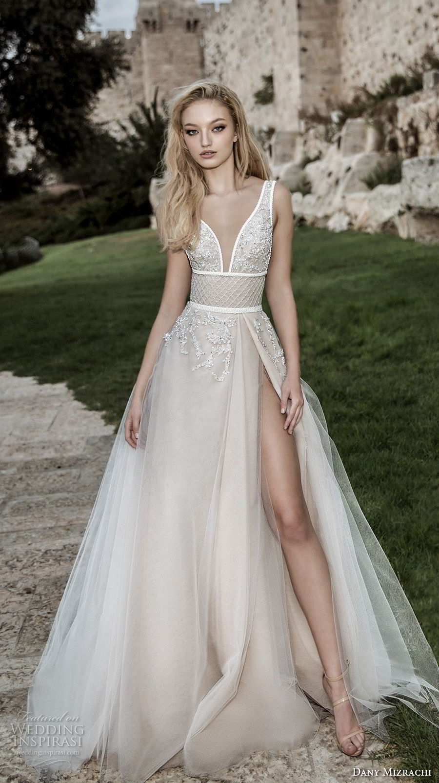 dany mizrachi spring 2018 bridal sleeveless deep plunging v neck heavily embellished bodice high slit skirt romantic sexy soft a  line wedding dress open square back chapel train (30) mv