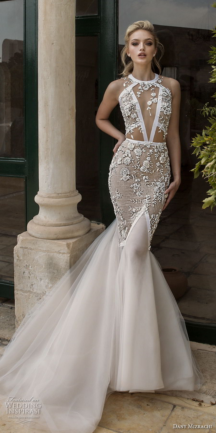 dany mizrachi spring 2018 bridal sleeveless halter jewel neck keyhole neckline heavily embellished bodice elegant mermaid wedding dress keyhole back chapel train (19) mv