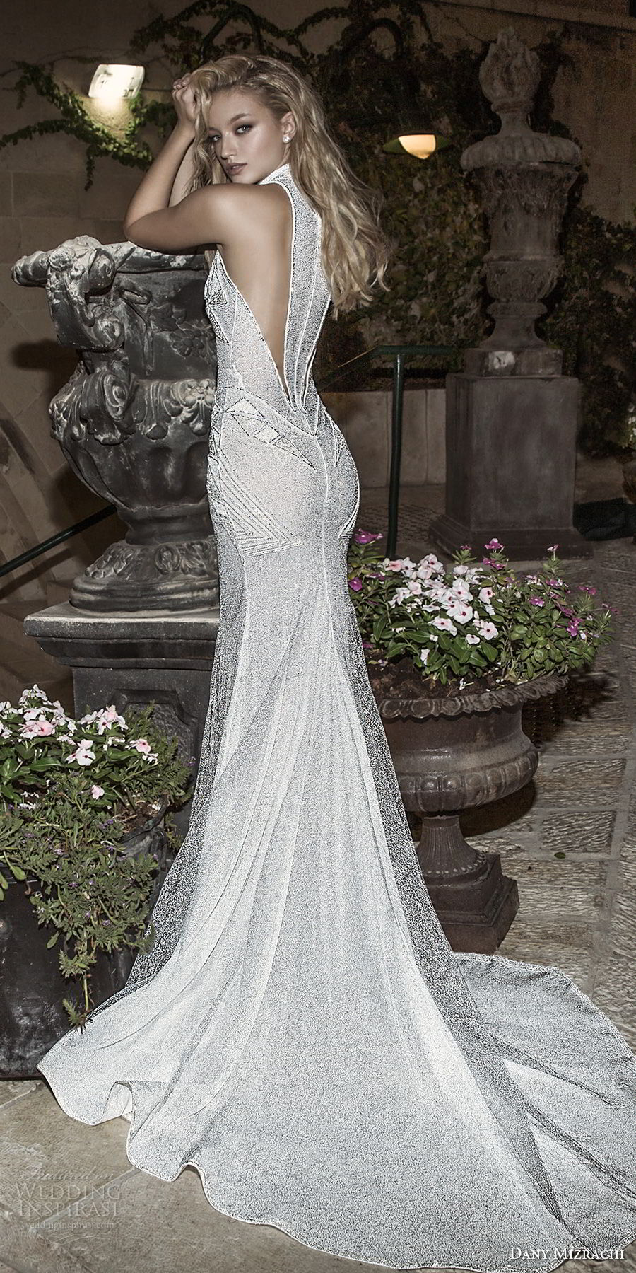 dany mizrachi spring 2018 bridal sleeveless halter neck full embellishment high slit art decor vintage elegant sheath wedding dress rasor back chapel train (26) bv