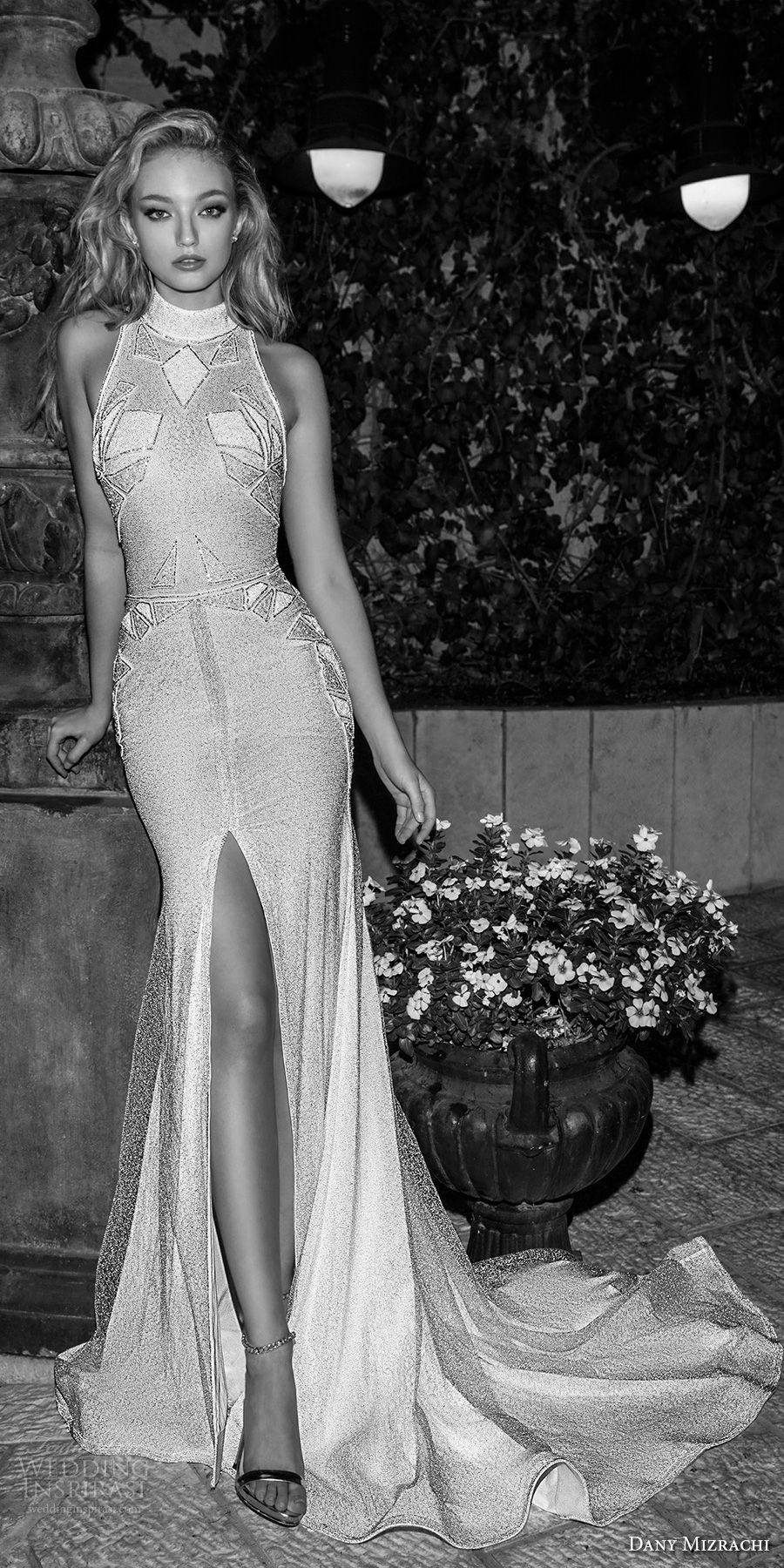 dany mizrachi spring 2018 bridal sleeveless halter neck full embellishment high slit art decor vintage elegant sheath wedding dress rasor back chapel train (26) mv