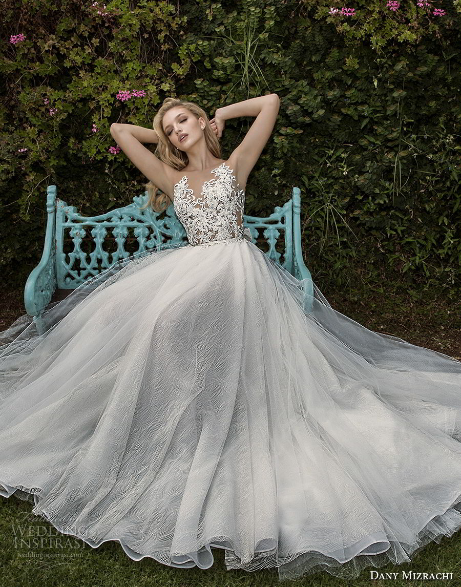 dany mizrachi spring 2018 bridal sleeveless illusion v neck heavily embellished bodice tulle skirt romantic a  line wedding dress with pockets open back chapel train (01) mv