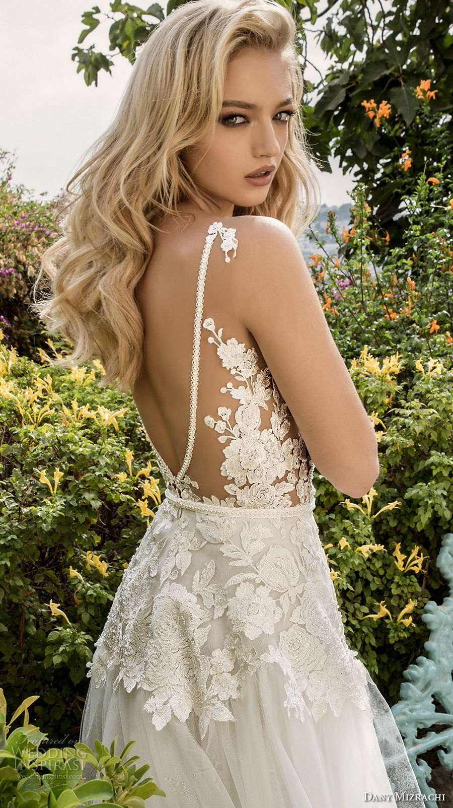 dany mizrachi spring 2018 bridal sleeveless v neck heavily embellished bodice romantic a  line wedding dress open v back sweep train (15) zbv