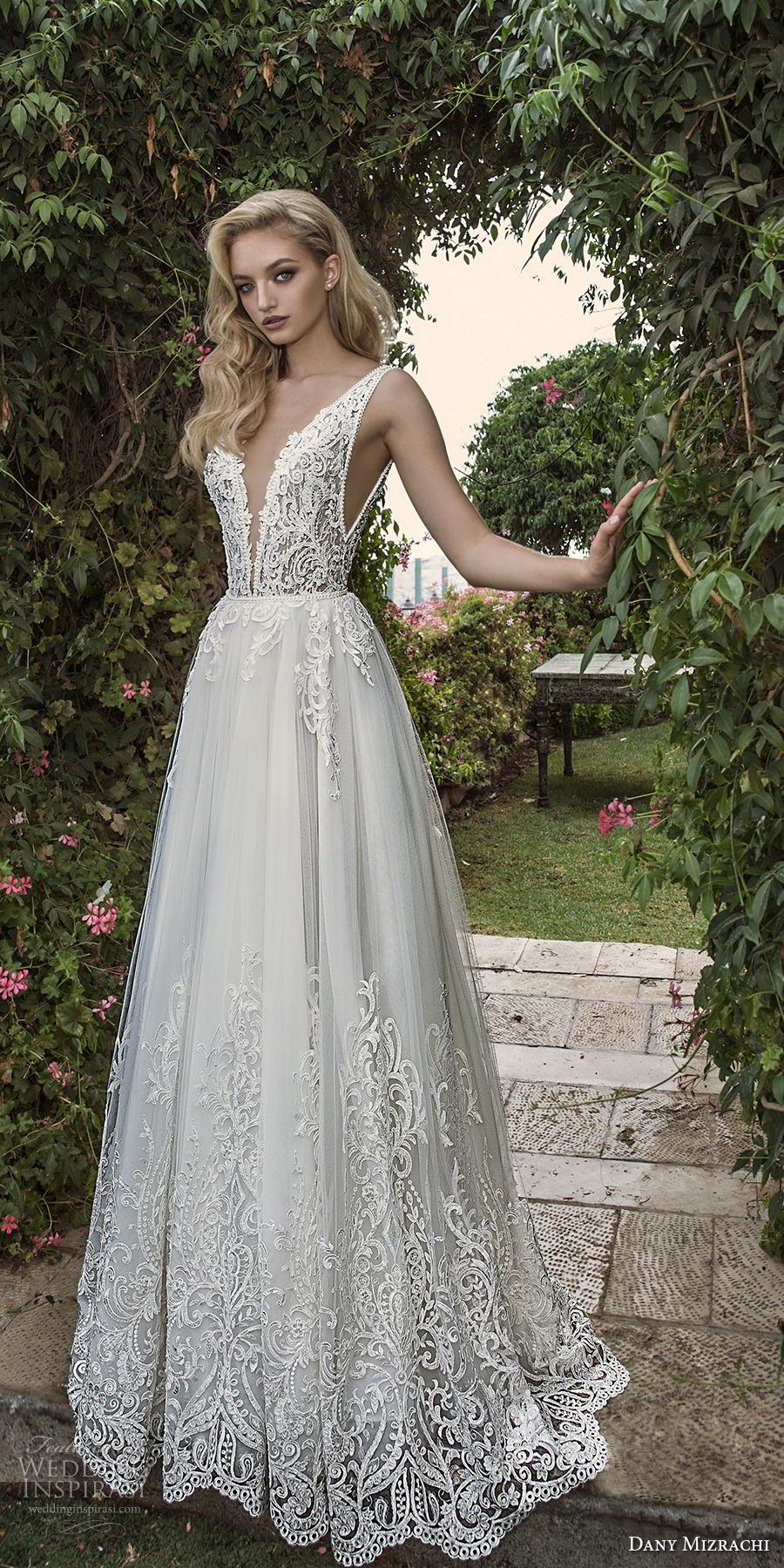 dany mizrachi spring 2018 bridal sleeveless with strap deep plunging v neck heavily embellished bodice romantic a  line wedding dress open scoop back sweep train (6) mv
