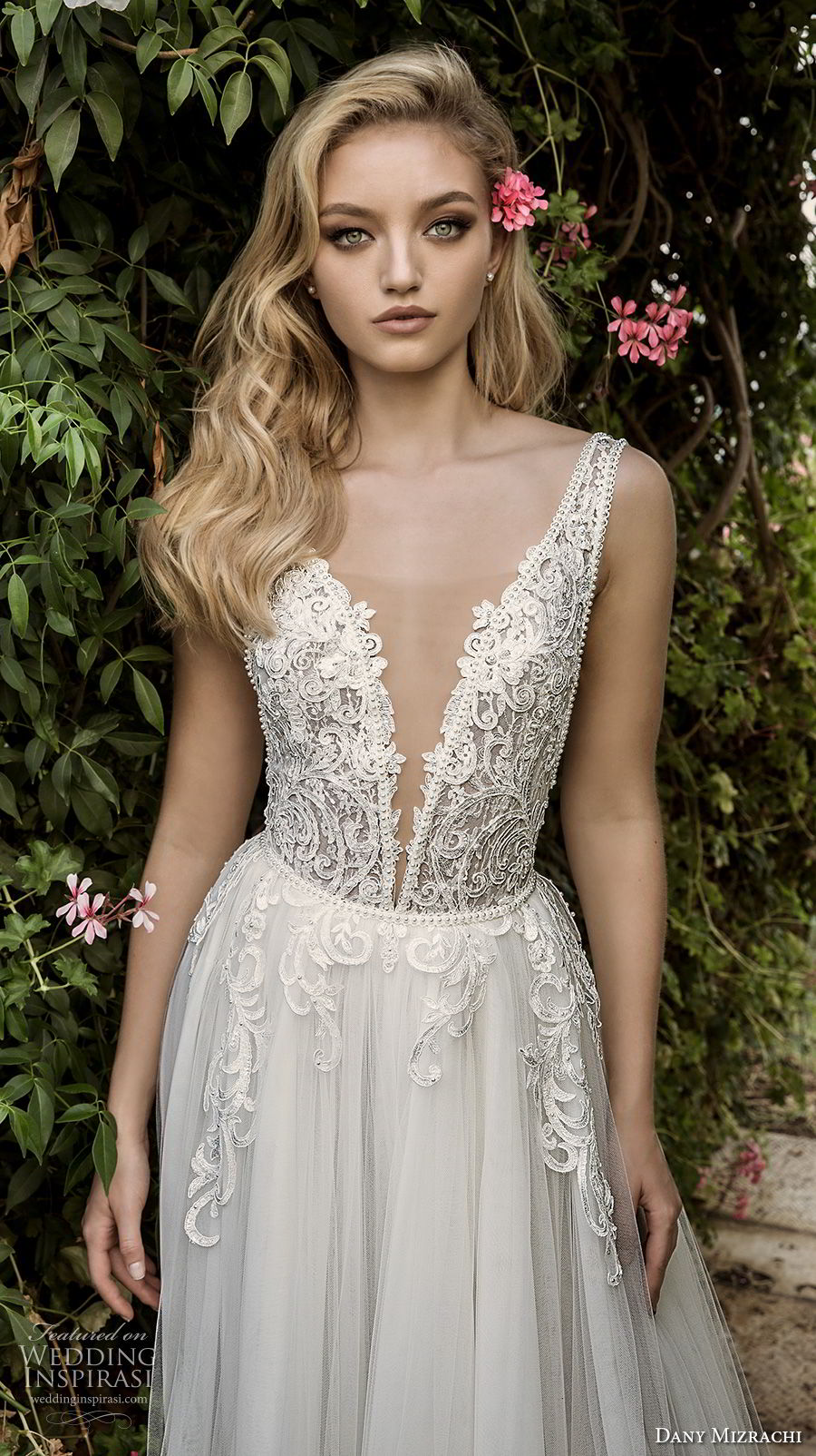 dany mizrachi spring 2018 bridal sleeveless with strap deep plunging v neck heavily embellished bodice romantic a  line wedding dress open scoop back sweep train (6) zv