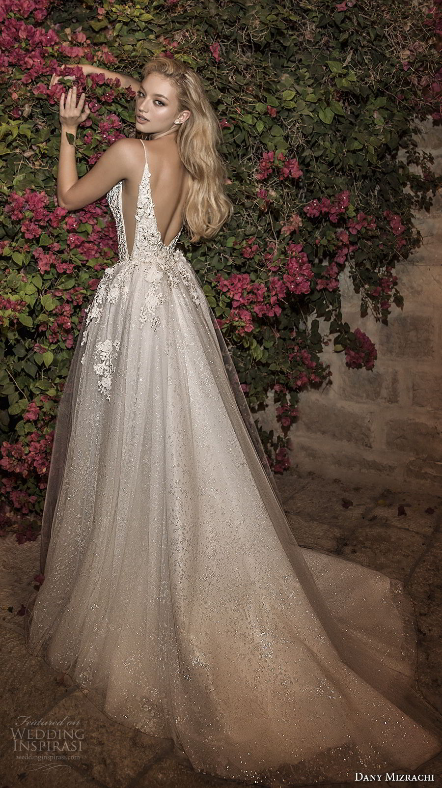 dany mizrachi spring 2018 bridal spaghetti strap deep plunging v neck heavily embellished bodice side open romantic sexy a  line wedding dress open v back chapel train (8) bv