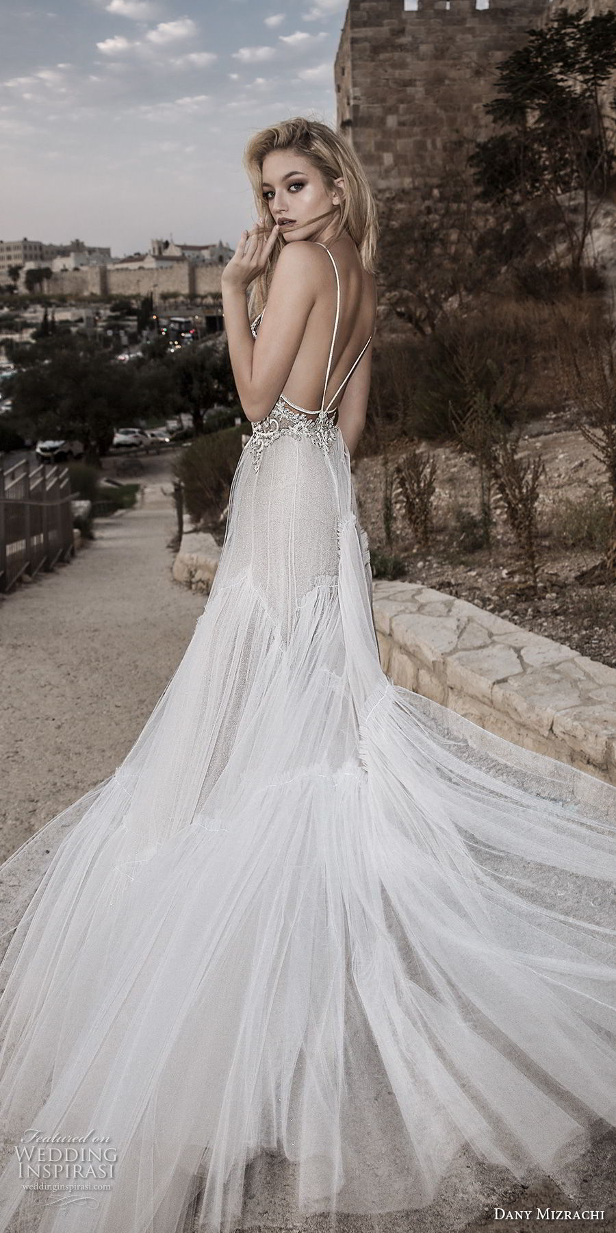 dany mizrachi spring 2018 bridal spaghetti strap sweetheart neckline heavily embellished romantic bohemian a  line wedding dress open strap back chapel train (31) bv