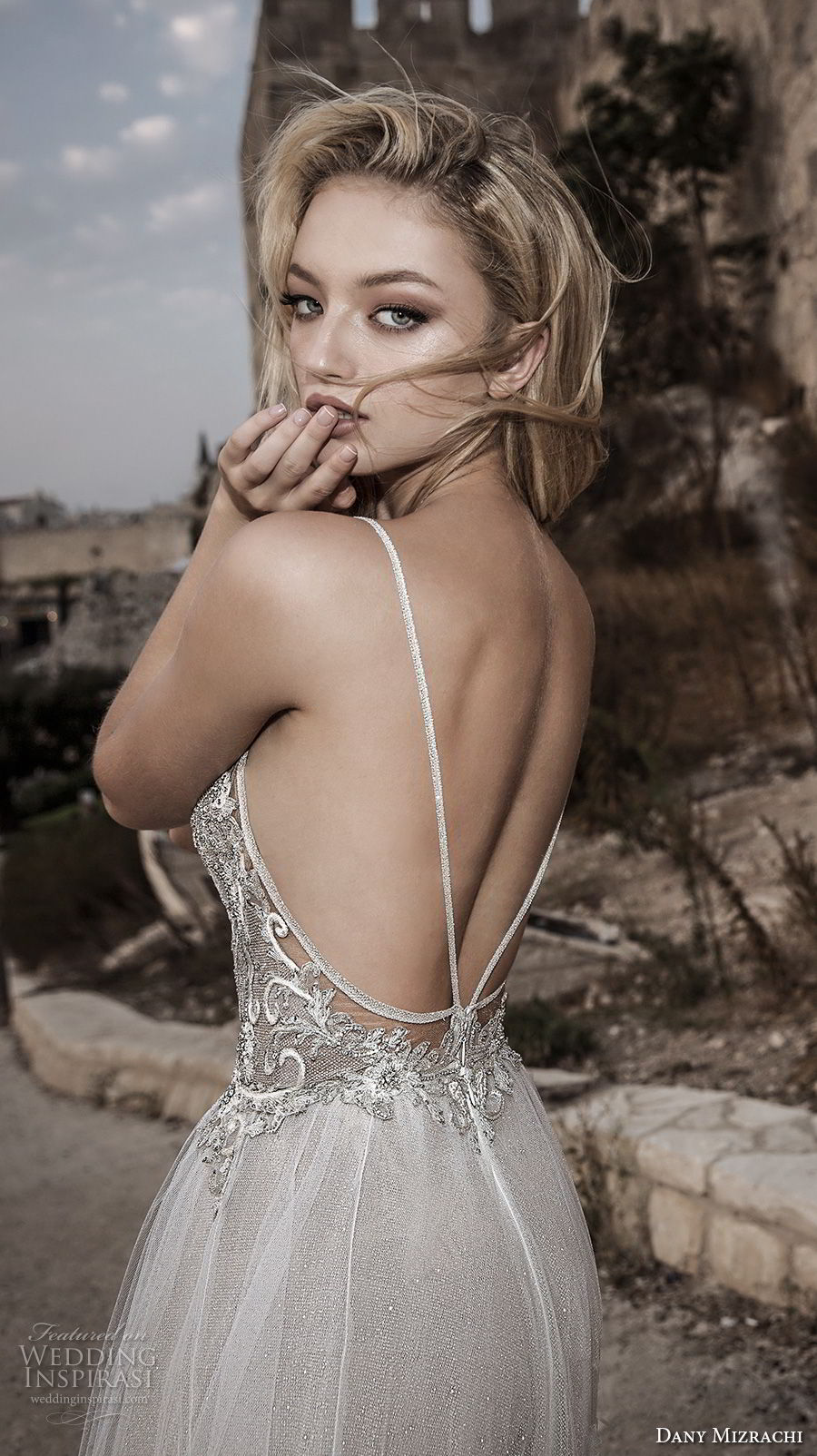 dany mizrachi spring 2018 bridal spaghetti strap sweetheart neckline heavily embellished romantic bohemian a  line wedding dress open strap back chapel train (31) zbv
