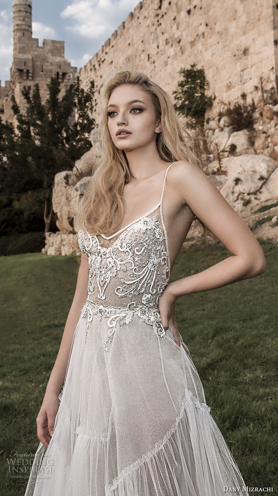 dany mizrachi spring 2018 bridal spaghetti strap sweetheart neckline heavily embellished romantic bohemian a  line wedding dress open strap back chapel train (31) zv