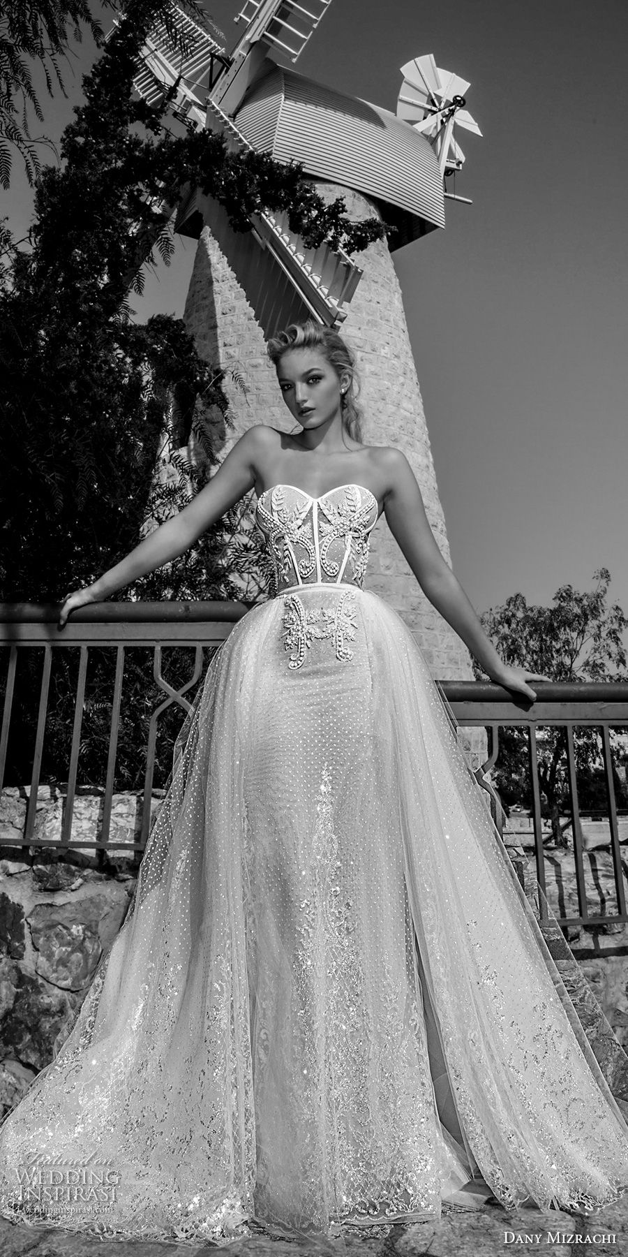 dany mizrachi spring 2018 bridal strapless sweetheart neckline heavily embellished bodice bustier sexy romantic a  line wedding dress chapel train (18) mv