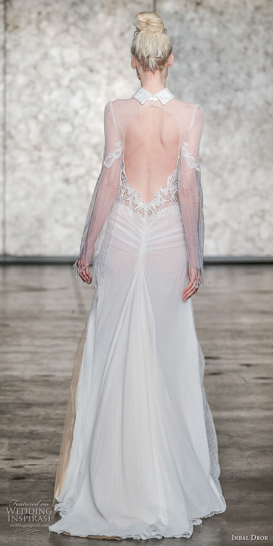 inbal dror fall 2018 bridal long hanging sleeves collar neck heavily embellished bodice elegant modified a line wedding dress keyhole back sweep train (03) bv
