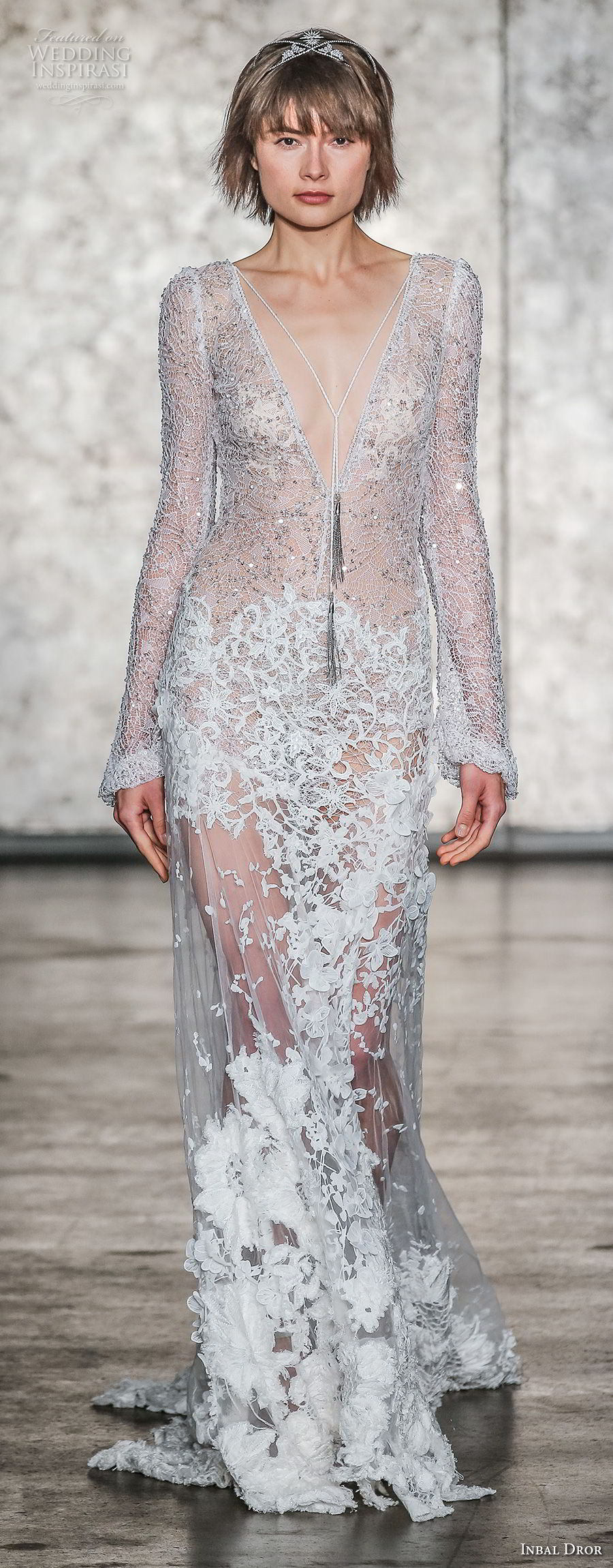 inbal dror fall 2018 bridal long sleeves deep v neck full embellishment elegant glamorous sheath wedding dress open v back sweep train (12) mv