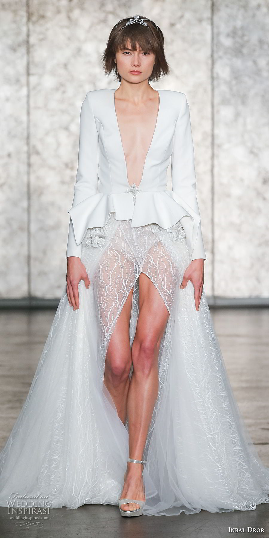 inbal dror fall 2018 bridal long sleeves deep v neck jacket high slit skirt sophiscated sexy a line wedding dress chapel train (01) mv