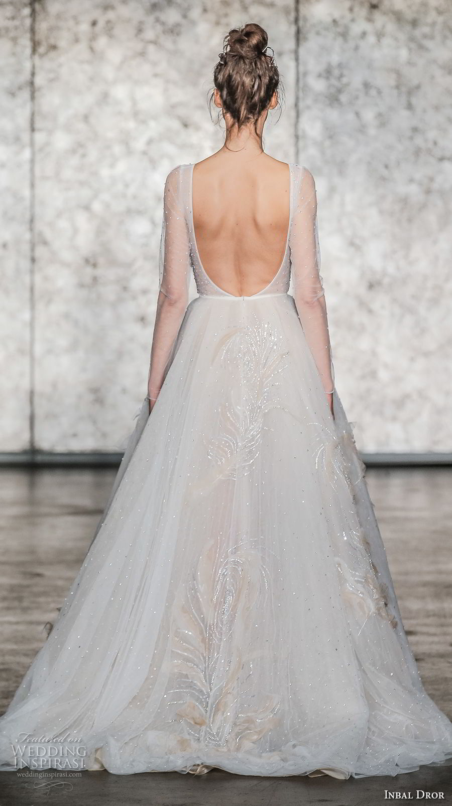 inbal dror fall 2018 bridal long sleeves deep v neck light embellishment romantic a line wedding dress open scoop back chapel train (15) bv