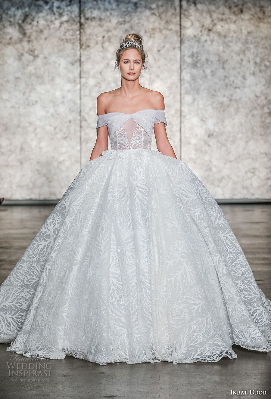 inbal dror fall 2018 bridal off the shoulder straight across neckline full embellishment princess ball gown wedding dress royal train (27) mv