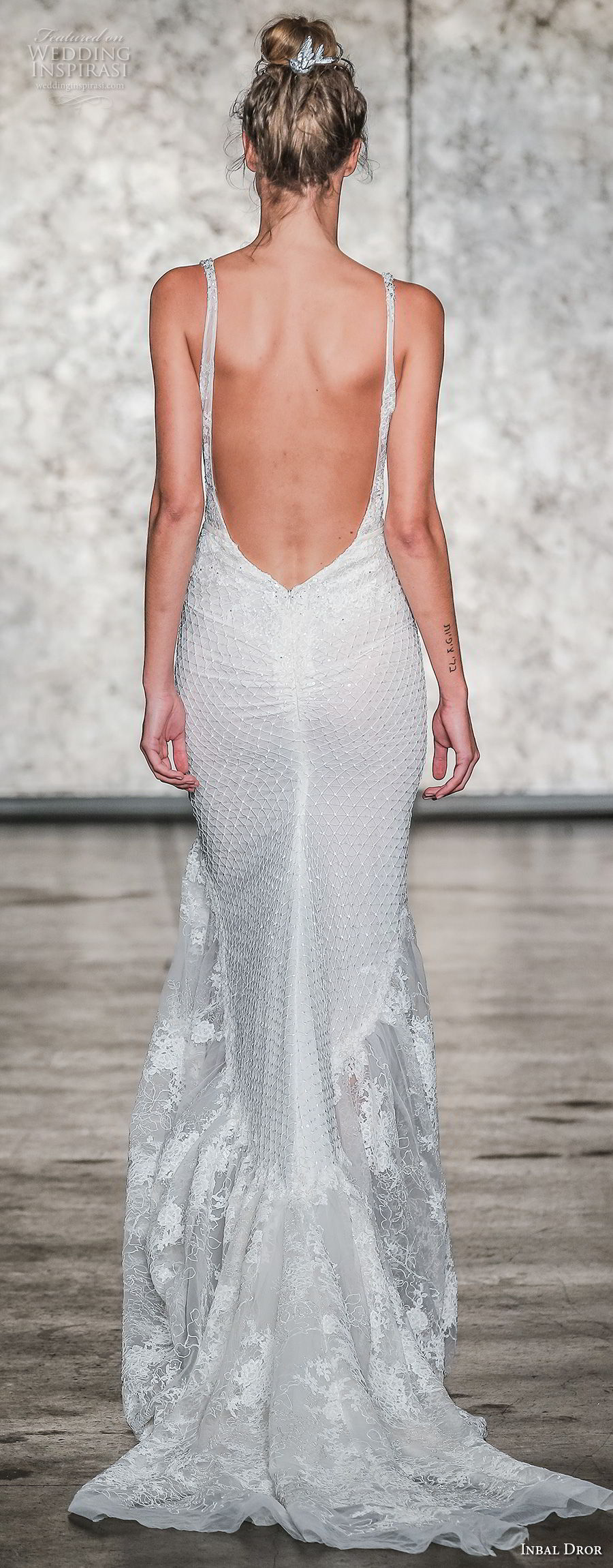 inbal dror fall 2018 bridal sleeveless deep v neck full embellishment elegant fit and flare wedding dress low open back sweep train (17) bv