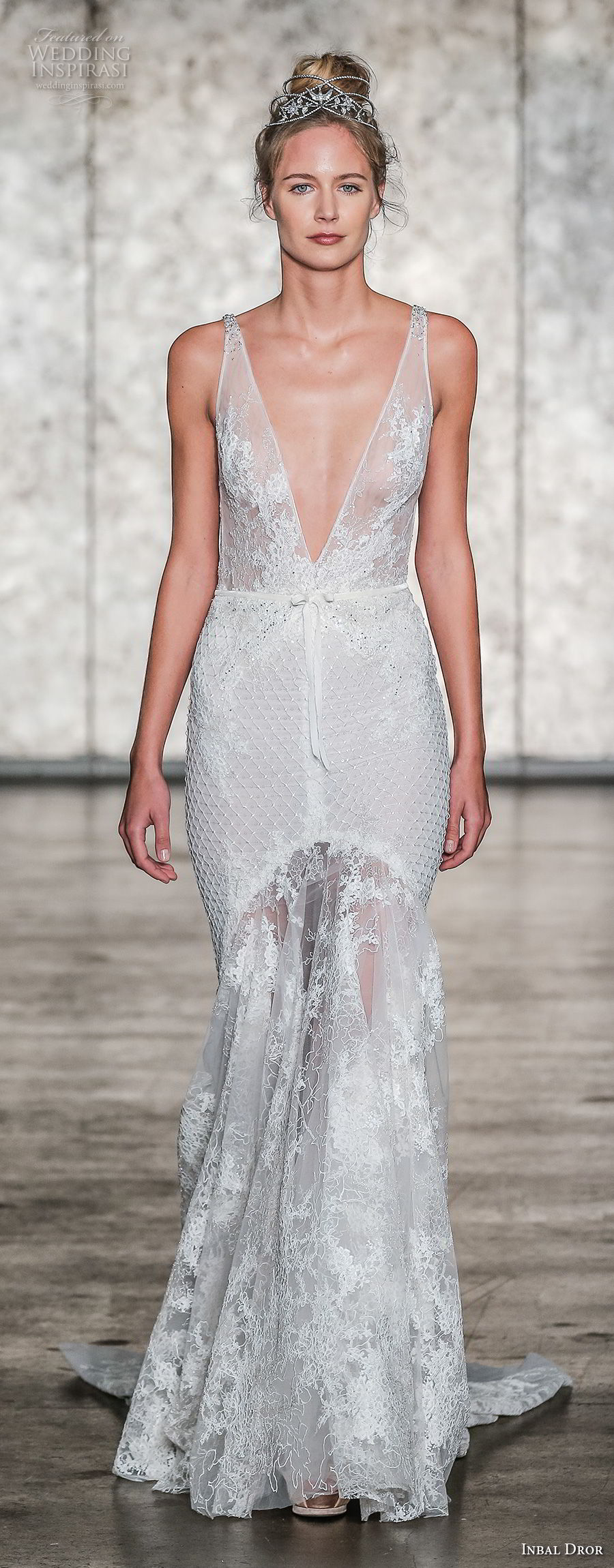 inbal dror fall 2018 bridal sleeveless deep v neck full embellishment elegant fit and flare wedding dress low open back sweep train (17) mv