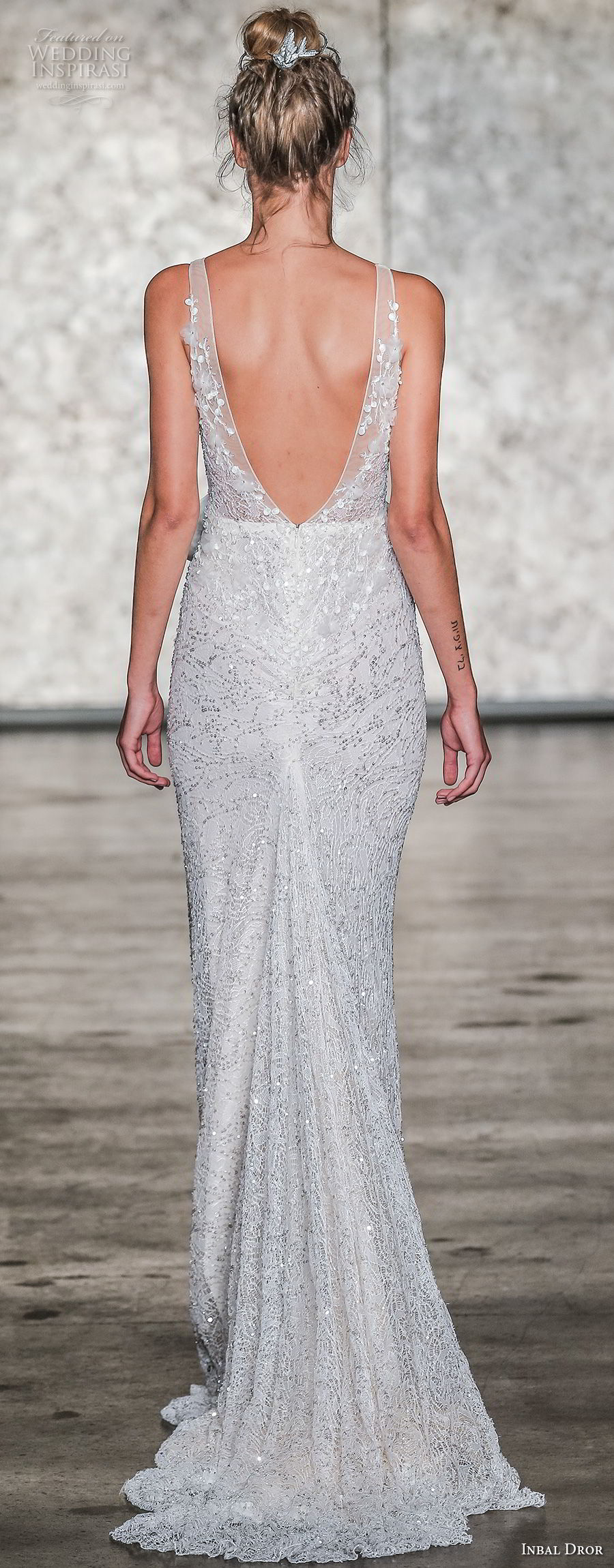 inbal dror fall 2018 bridal sleeveless deep v neck full embellishment elegant sheath wedding dress open v back sweep train (08) bv