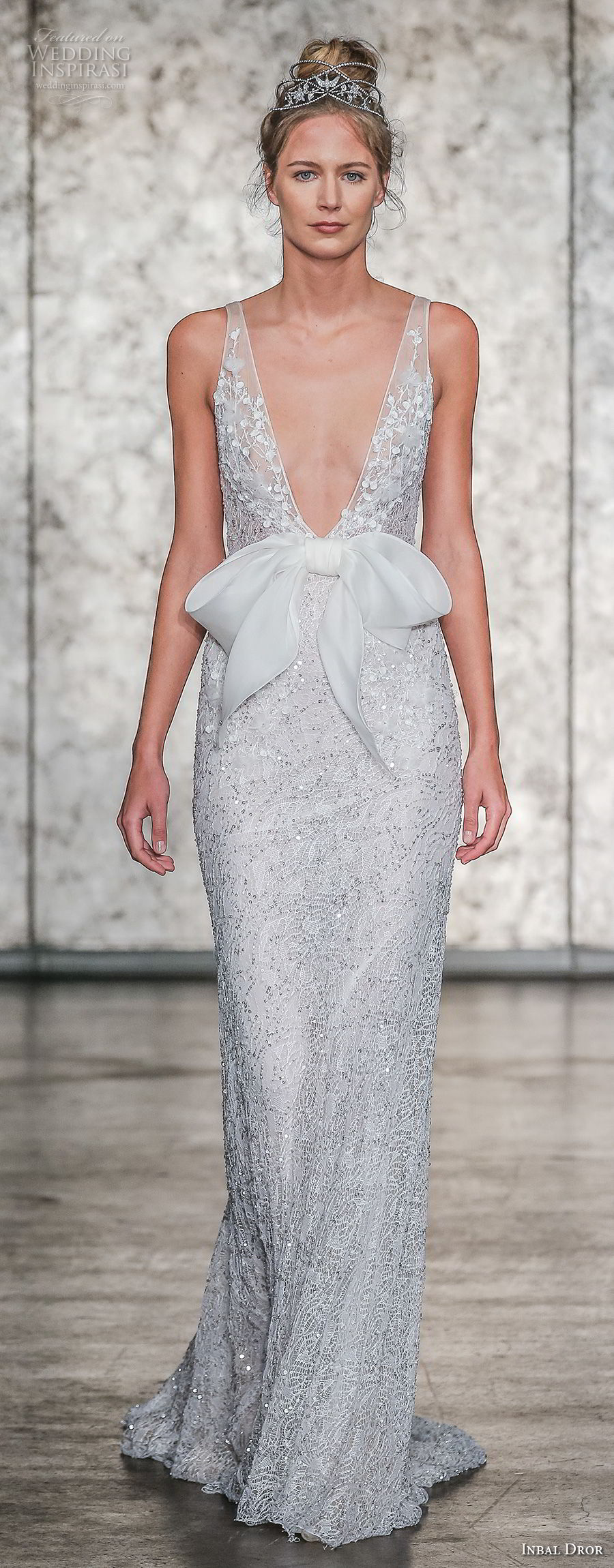inbal dror fall 2018 bridal sleeveless deep v neck full embellishment elegant sheath wedding dress open v back sweep train (08) mv