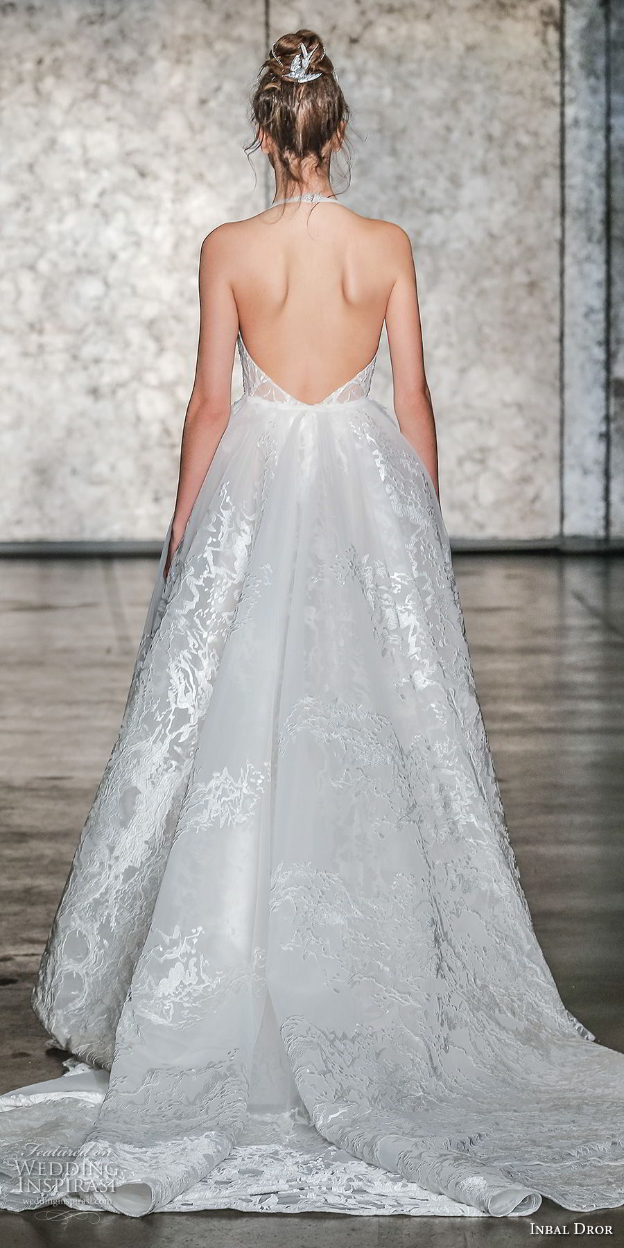 inbal dror fall 2018 bridal sleeveless deep v plunging neck full embellishment elegant sexy a line wedding dress open back chapel train (26) bv