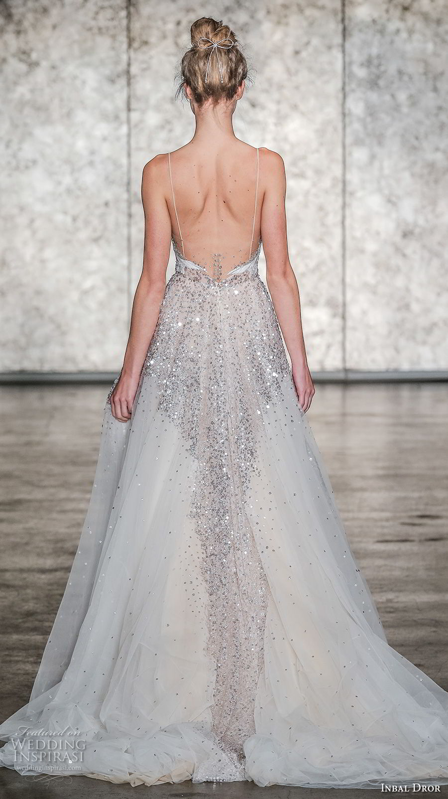inbal dror fall 2018 bridal sleeveless spaghetti strap sweetheart neckline heavily embellished bodice romantic a line wedding dress open back chapel train (18) bv