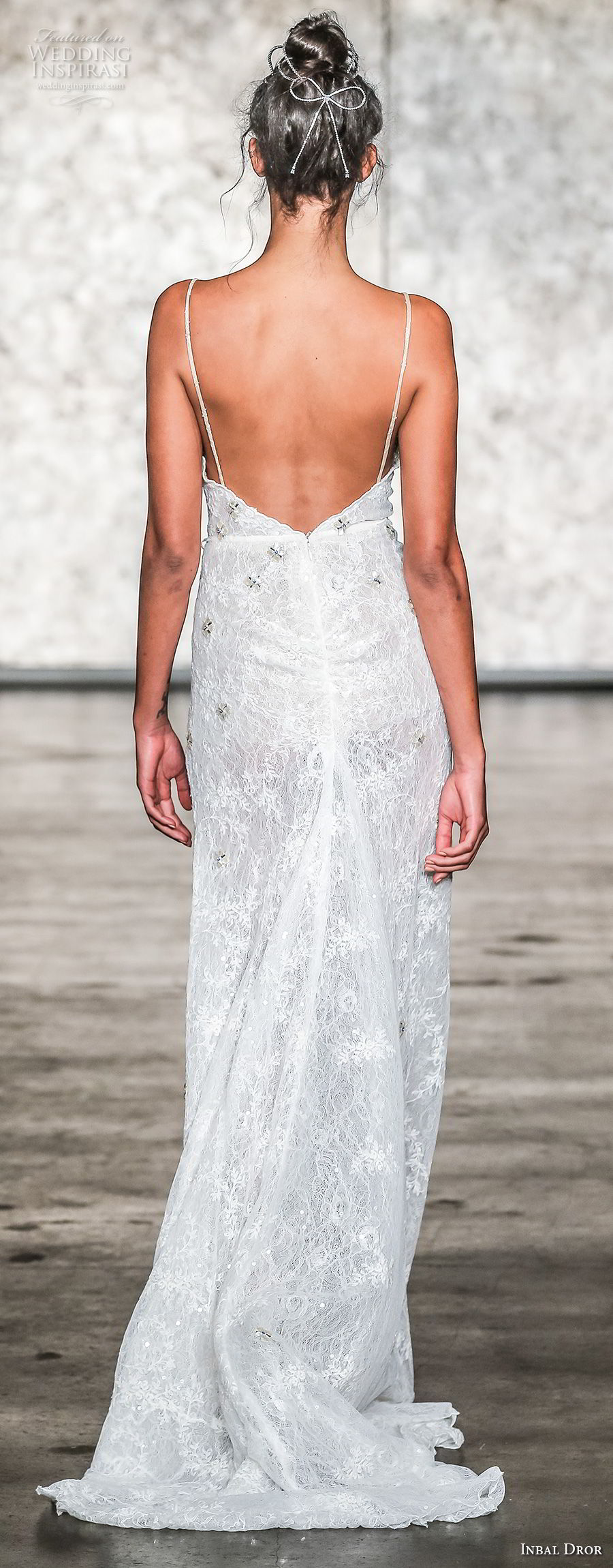 inbal dror fall 2018 bridal sleeveless spaghetti strap sweetheart neckline high slit sexy sheath wedding dress open back sweep train (13) bv