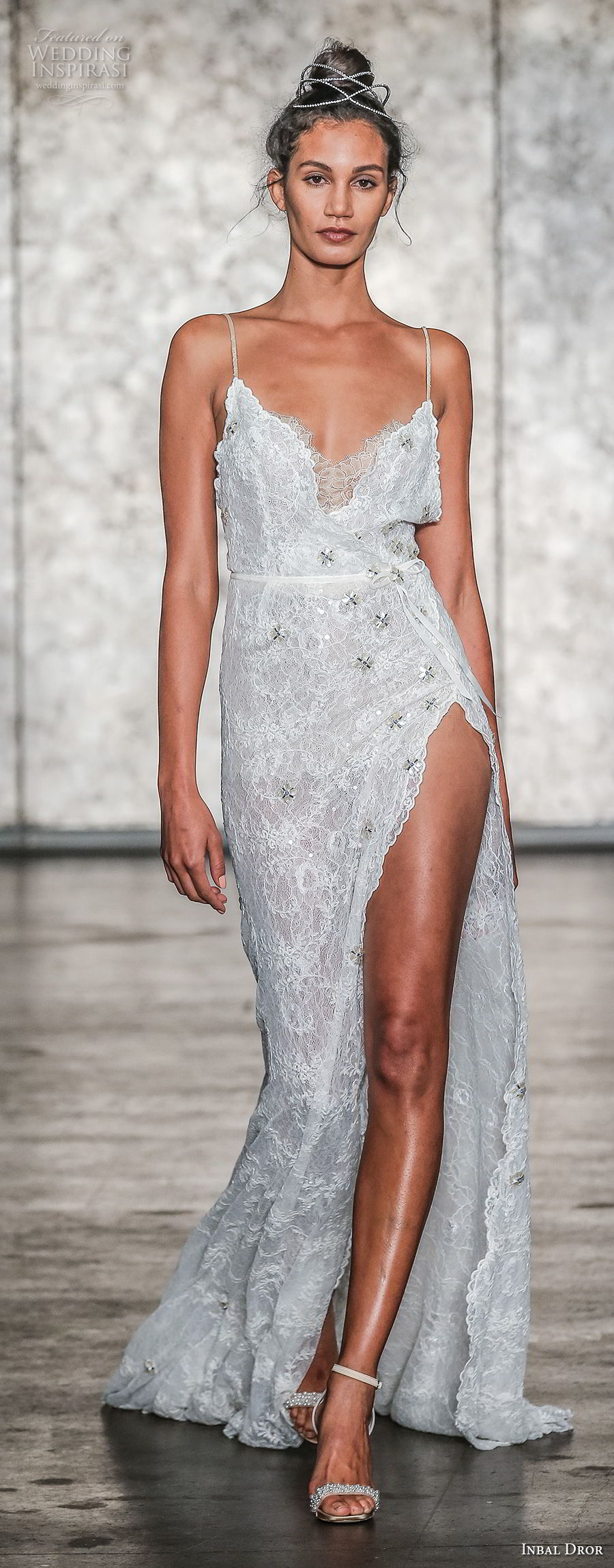 inbal dror fall 2018 bridal sleeveless spaghetti strap sweetheart neckline high slit sexy sheath wedding dress open back sweep train (13) mv