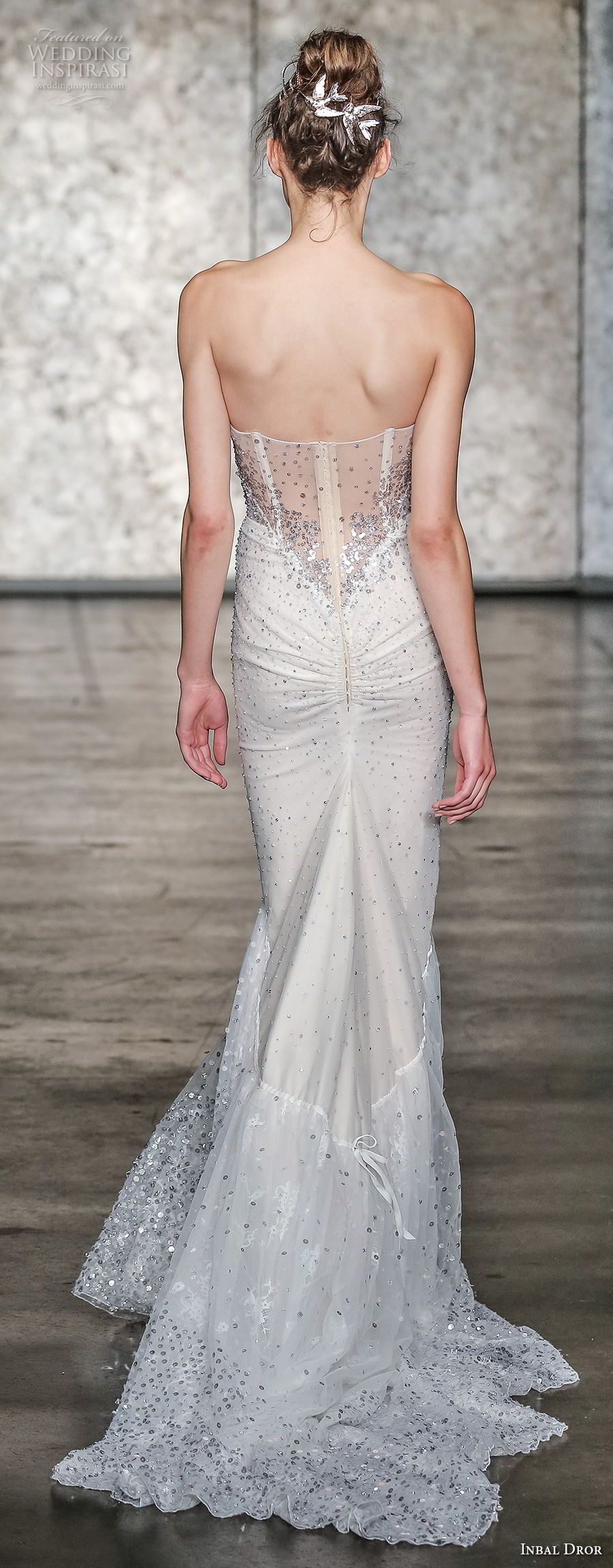 inbal dror fall 2018 bridal strapless sweetheart neckline full embellishment bustier bodice sexy elegant fit and flare wedding dress sweep train (09) bv