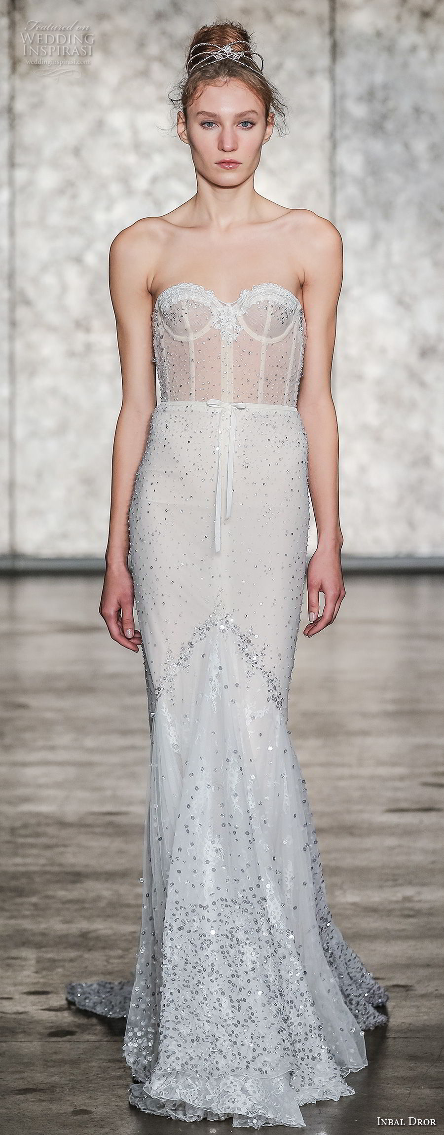 inbal dror fall 2018 bridal strapless sweetheart neckline full embellishment bustier bodice sexy elegant fit and flare wedding dress sweep train (09) mv