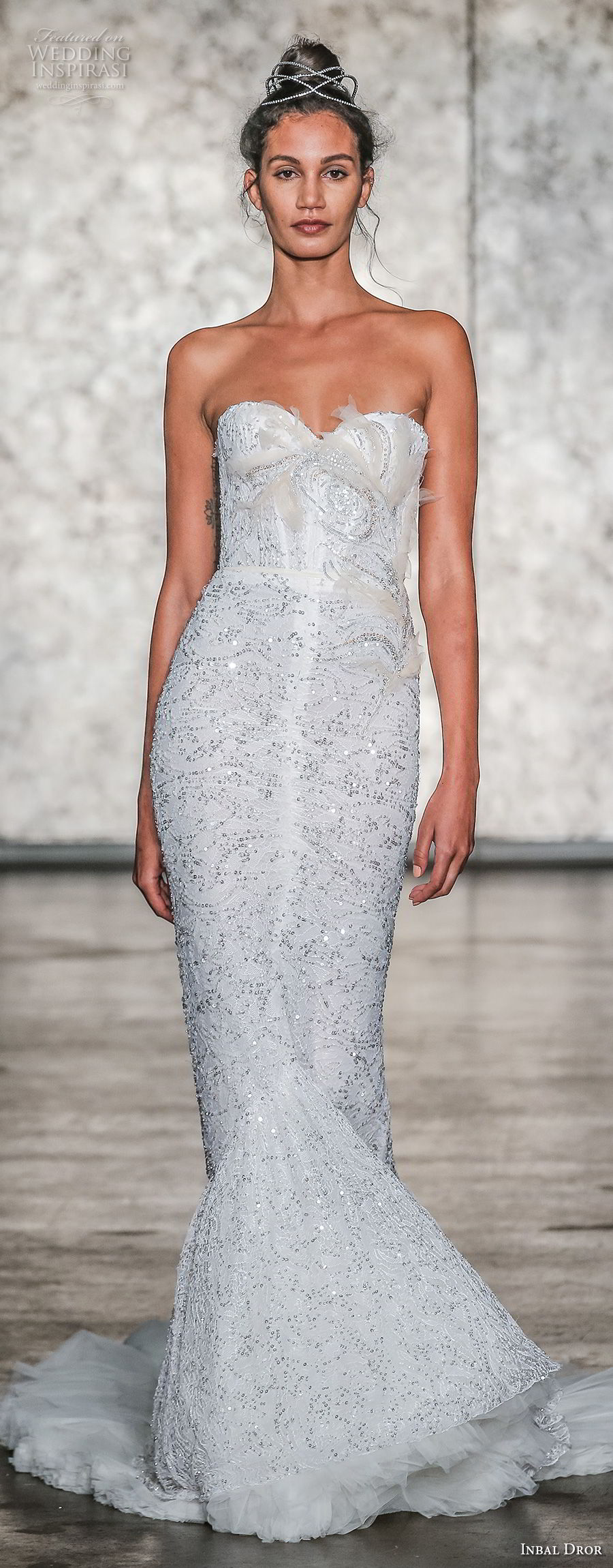 inbal dror fall 2018 bridal strapless sweetheart neckline full embellishment elegant mermaid wedding dress sweep train (23) mv