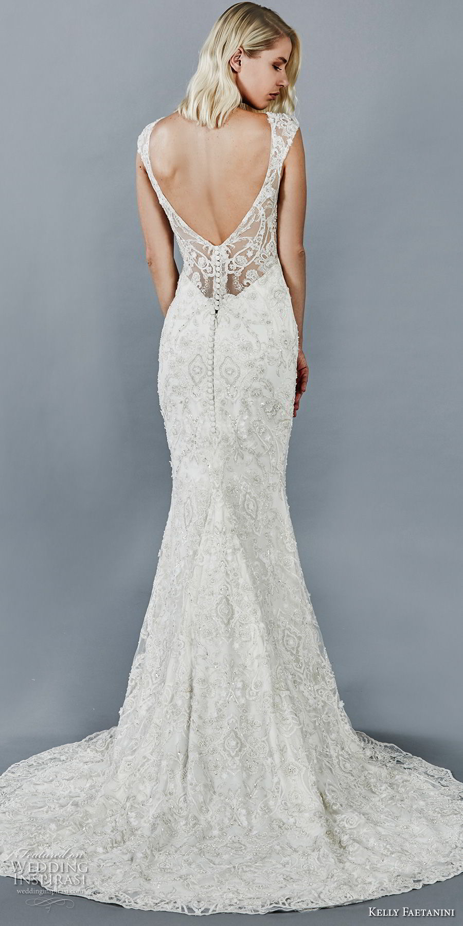 kelly faetanini fall 2018 bridal cap sleeves sweetheart neckline full beaded embellishment elegant fit and flare sheath wedding dress open v back sweep train (10) bv