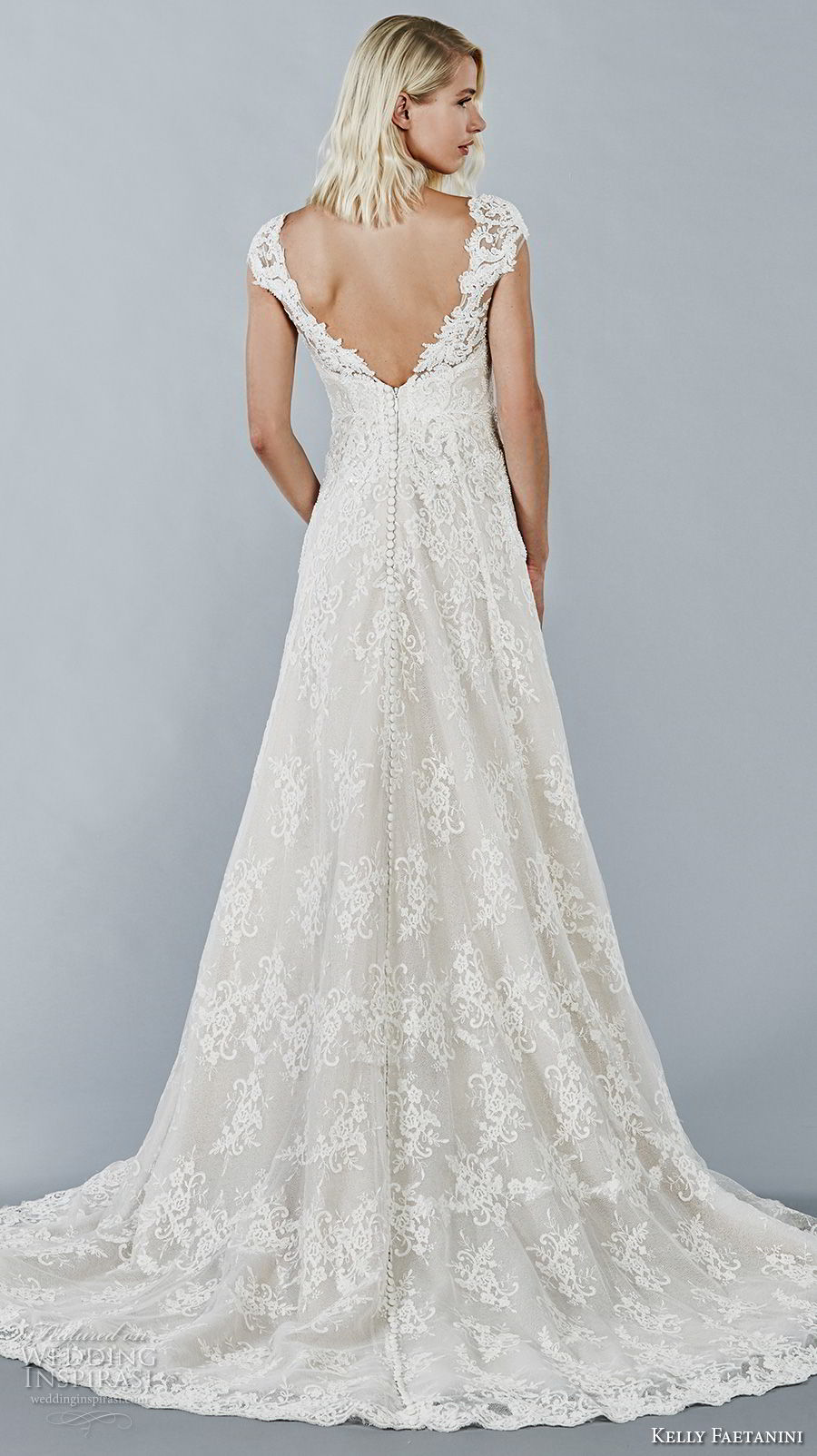 kelly faetanini fall 2018 bridal cap sleeves sweetheart neckline full embellishment elegant romantic a line wedding dress open v back sweep train (12) bv