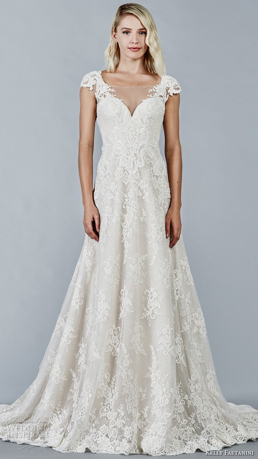 kelly faetanini fall 2018 bridal cap sleeves sweetheart neckline full embellishment elegant romantic a line wedding dress open v back sweep train (12) mv