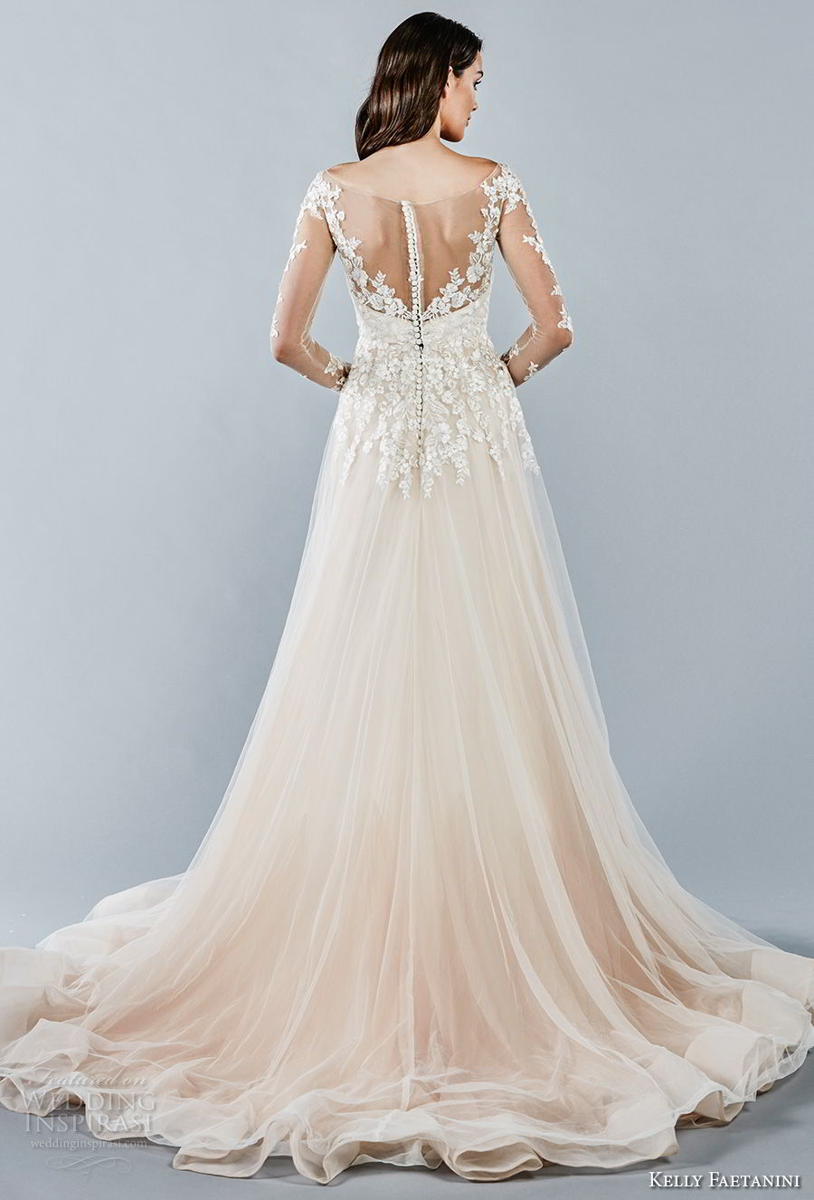 kelly faetanini fall 2018 bridal long sleeves illusion bateau sweetheart neckline heavily embellished bodice romantic blush color a line wedding dress sheer button back chapel train (14) bv