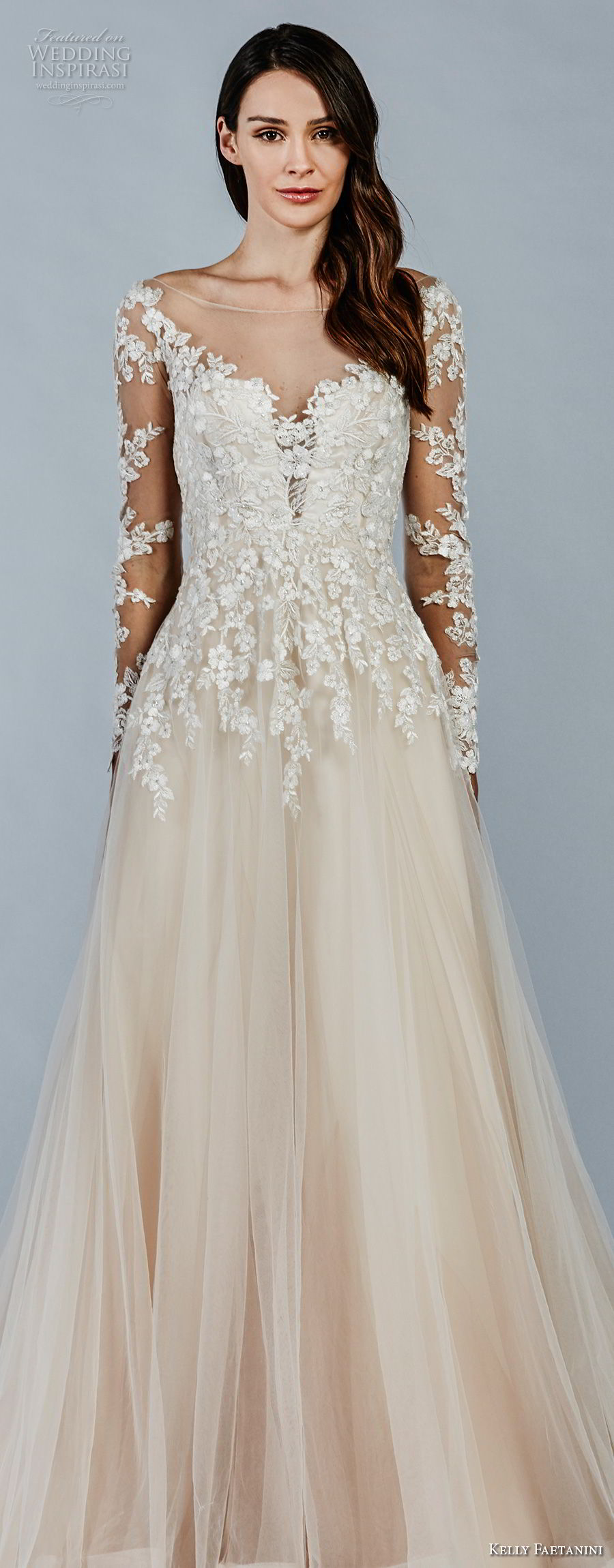 kelly faetanini fall 2018 bridal long sleeves illusion bateau sweetheart neckline heavily embellished bodice romantic blush color a line wedding dress sheer button back chapel train (14) lv