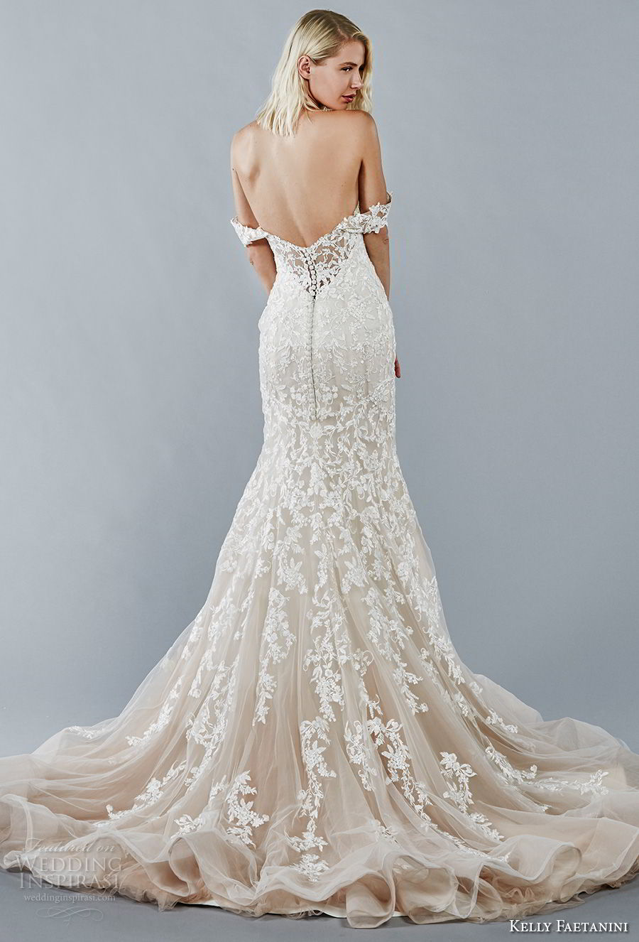 kelly faetanini fall 2018 bridal off the shoulder sweetheart neckline full embellishment romantic trumpet mermaid wedding dress open back chapel train (1) bv