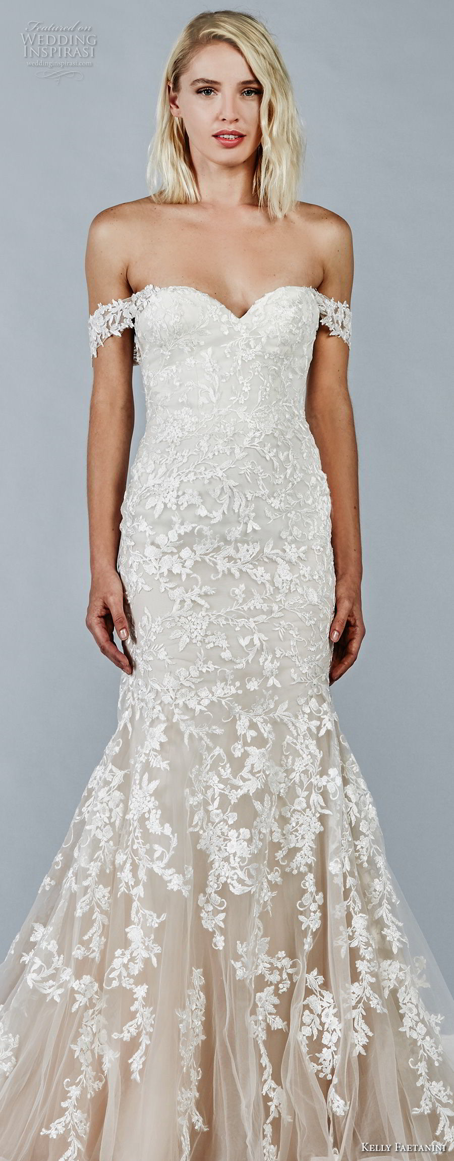 kelly faetanini fall 2018 bridal off the shoulder sweetheart neckline full embellishment romantic trumpet mermaid wedding dress open back chapel train (1) lv