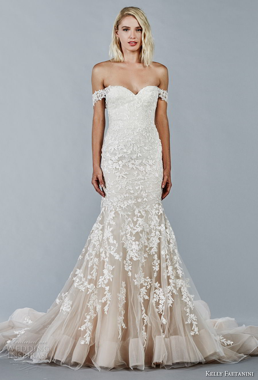 kelly faetanini fall 2018 bridal off the shoulder sweetheart neckline full embellishment romantic trumpet mermaid wedding dress open back chapel train (1) mv
