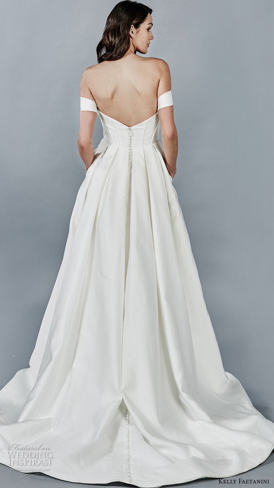 kelly faetanini fall 2018 bridal off the shoulder sweetheart neckline simple clean a line wedding dress open back chapel train (8) bv