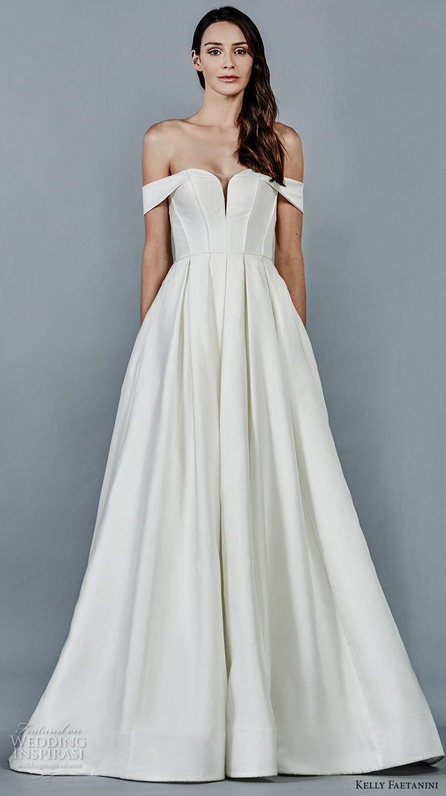 kelly faetanini fall 2018 bridal off the shoulder sweetheart neckline simple clean a line wedding dress open back chapel train (8) mv