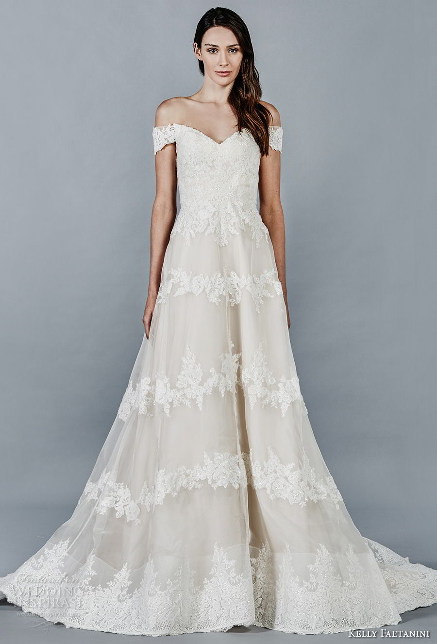 kelly faetanini fall 2018 bridal off the shoulder v neck full embellishment elegant romantic a line wedding dress chapel train (2) mv