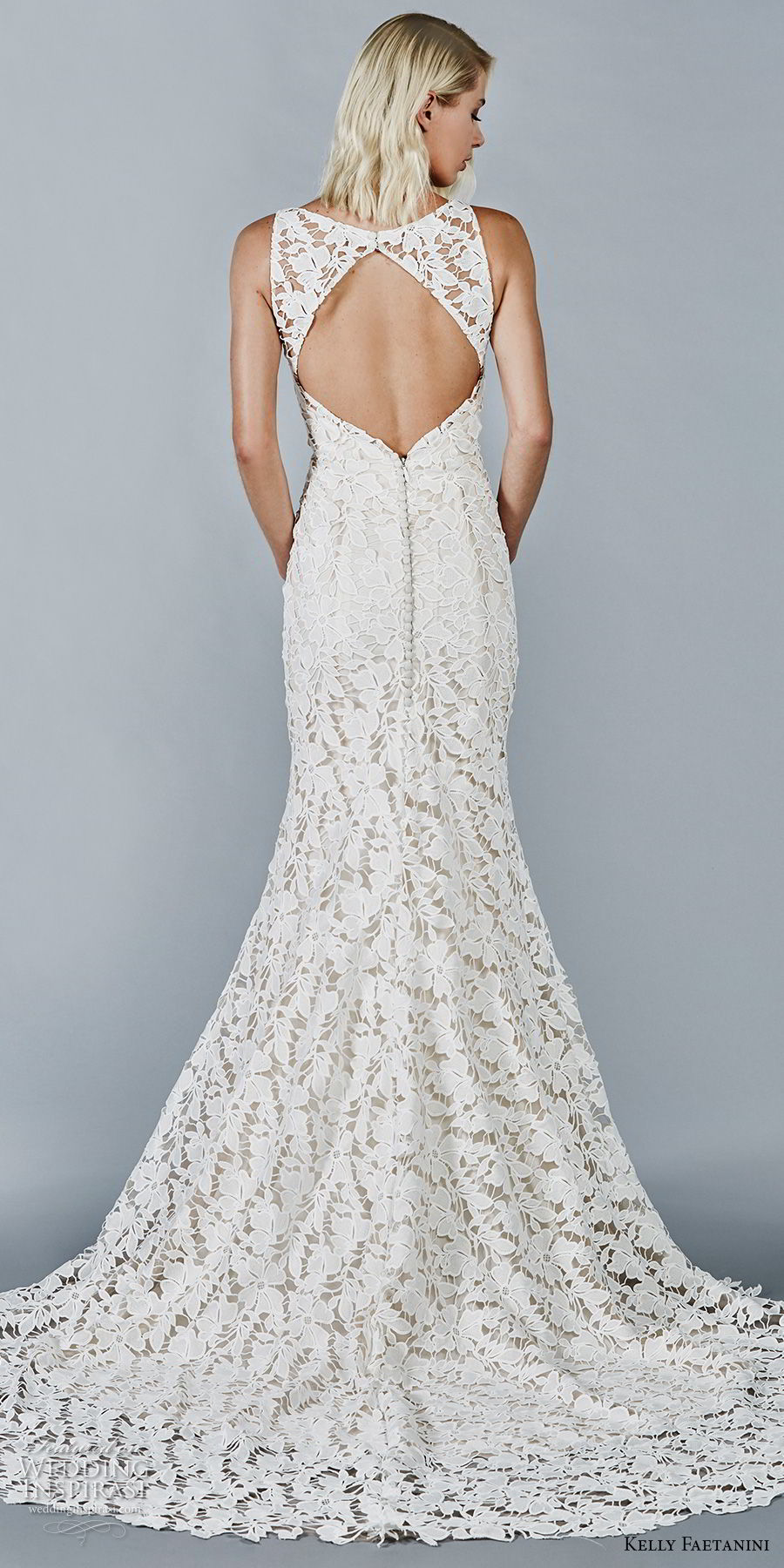 kelly faetanini fall 2018 bridal sleeveless bateau neck full lace embellishment elegant trumpet wedding dress keyhole back chapel train (5) bv